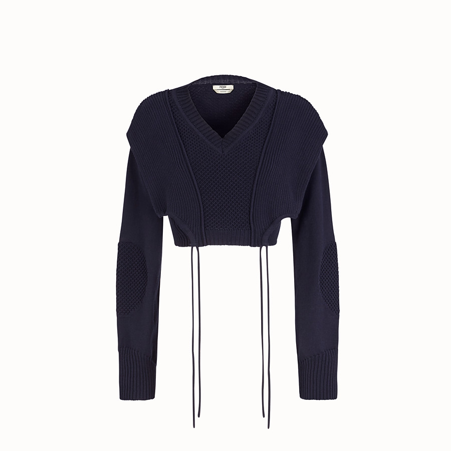 FENDI PULLOVER - Blue cotton sweater - view 1 detail