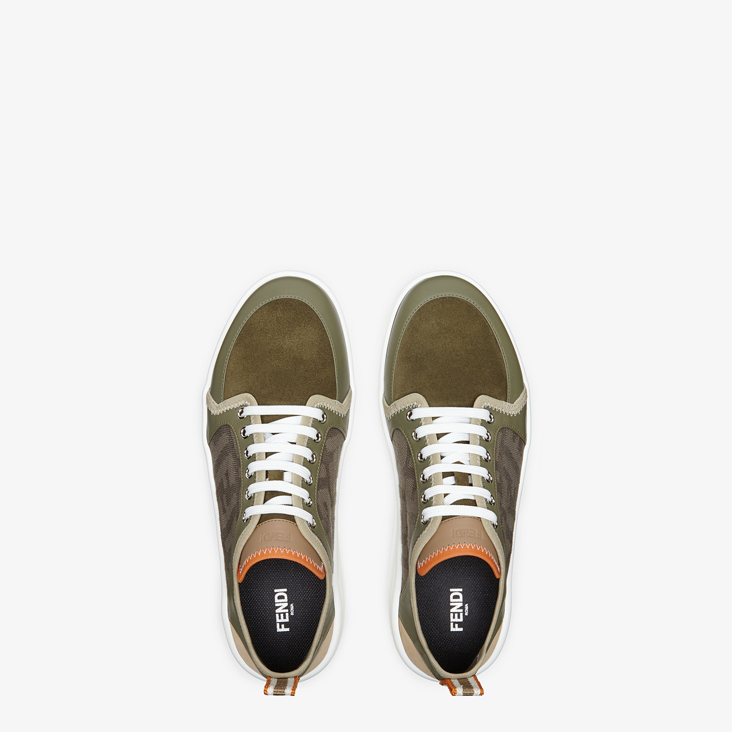 FENDI SNEAKERS - Multicolour leather and suede low-tops - view 4 detail