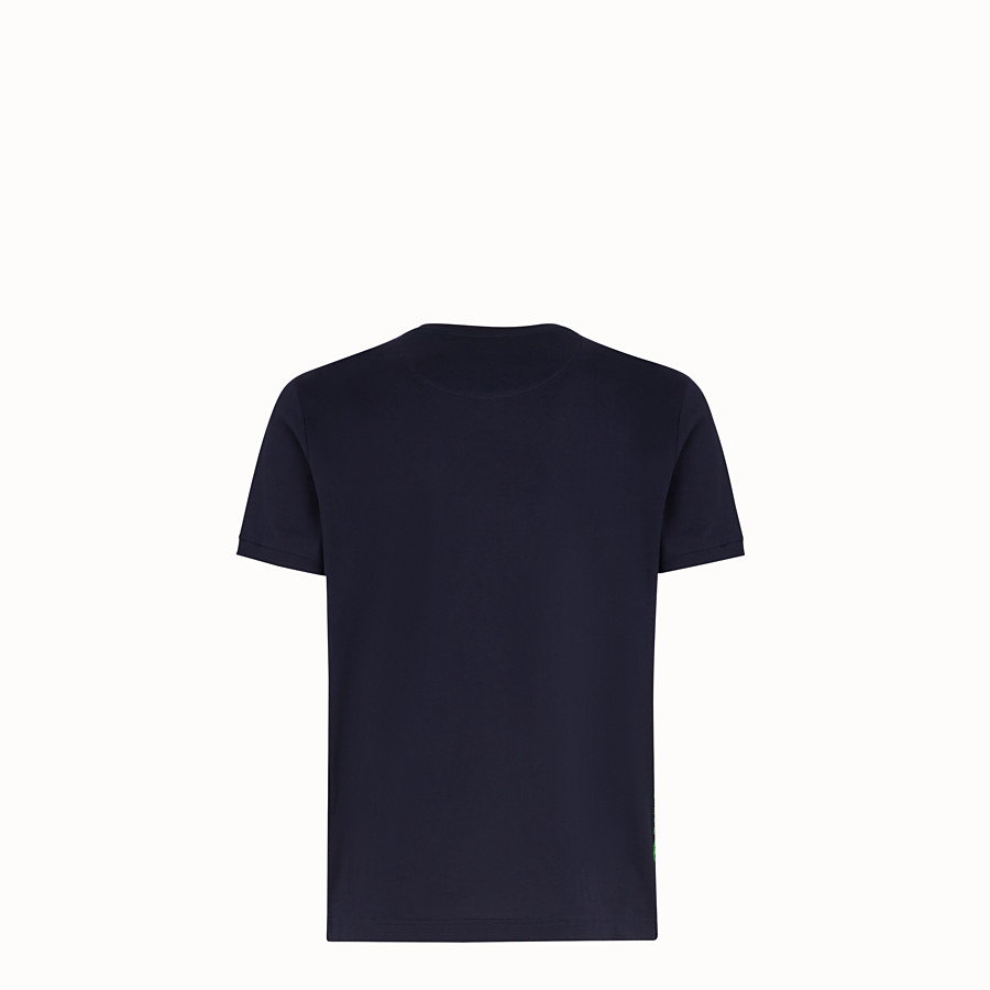 FENDI T-SHIRT - Blue cotton jersey T-shirt - view 2 detail