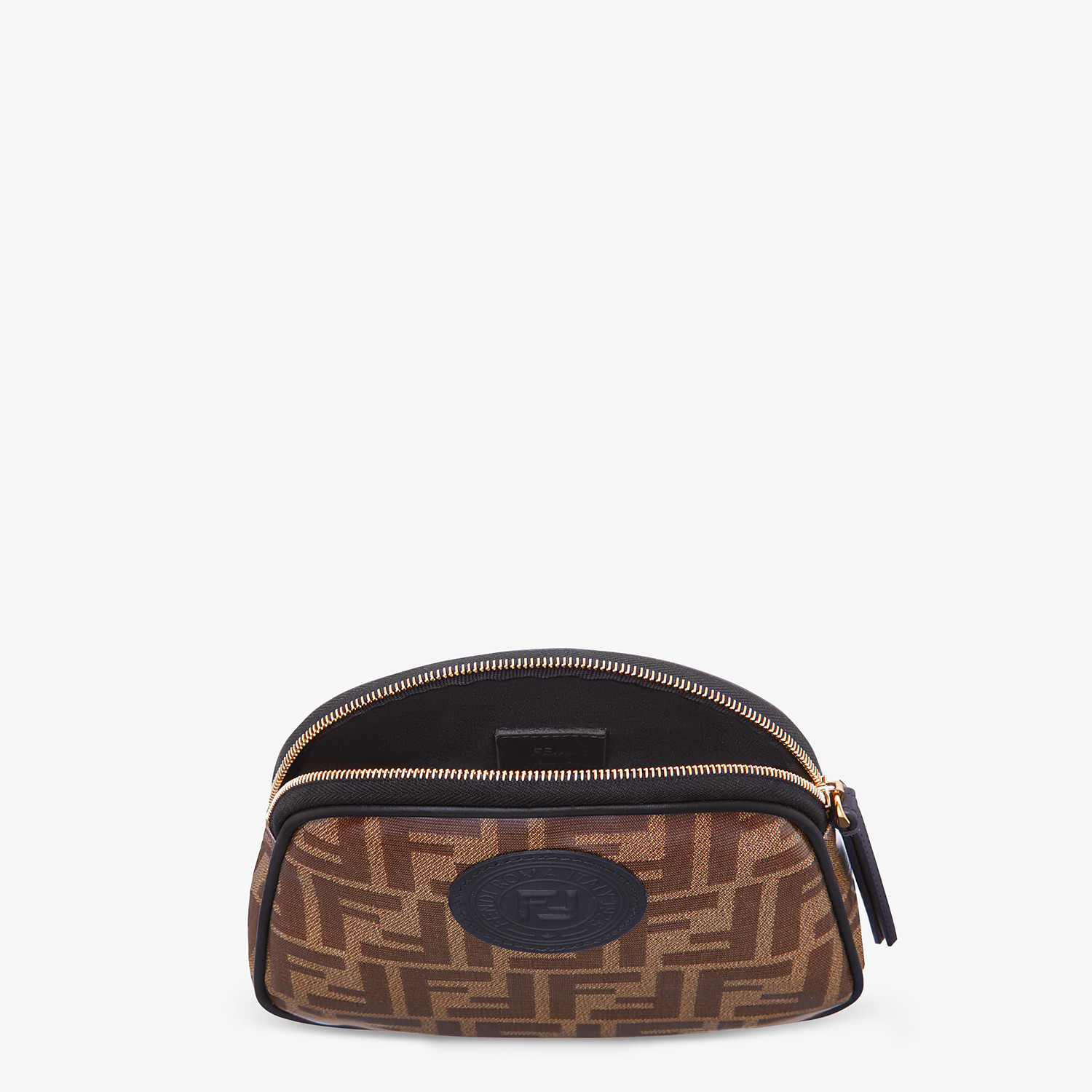 FENDI TOILETRY CASE MEDIUM - Brown fabric toiletry case - view 3 detail
