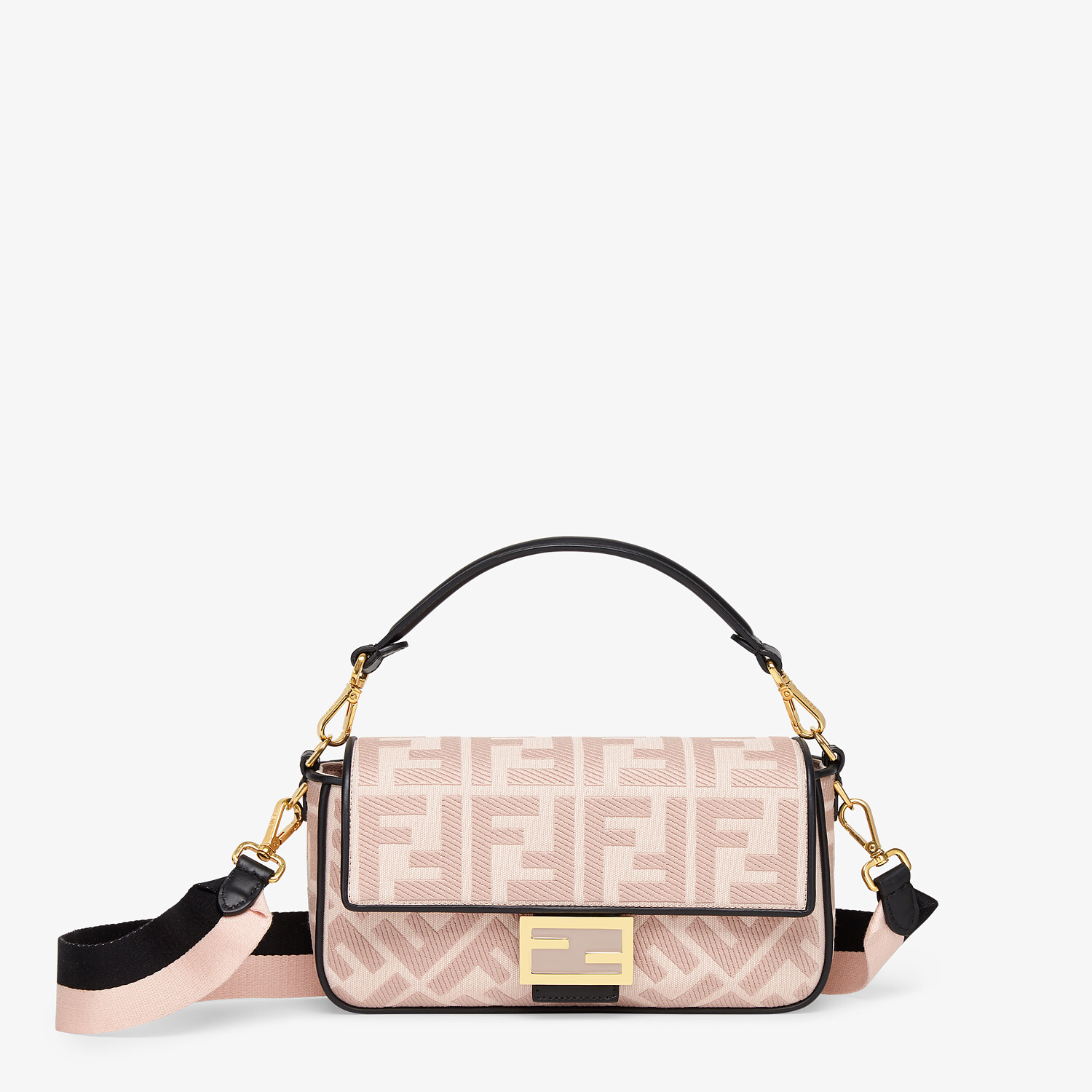 FENDI BAGUETTE - Embroidered pink canvas bag - view 1 detail