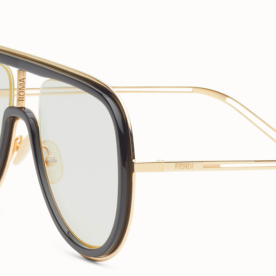 FENDI FUTURISTIC FENDI - Gold and black sunglasses - view 3 detail