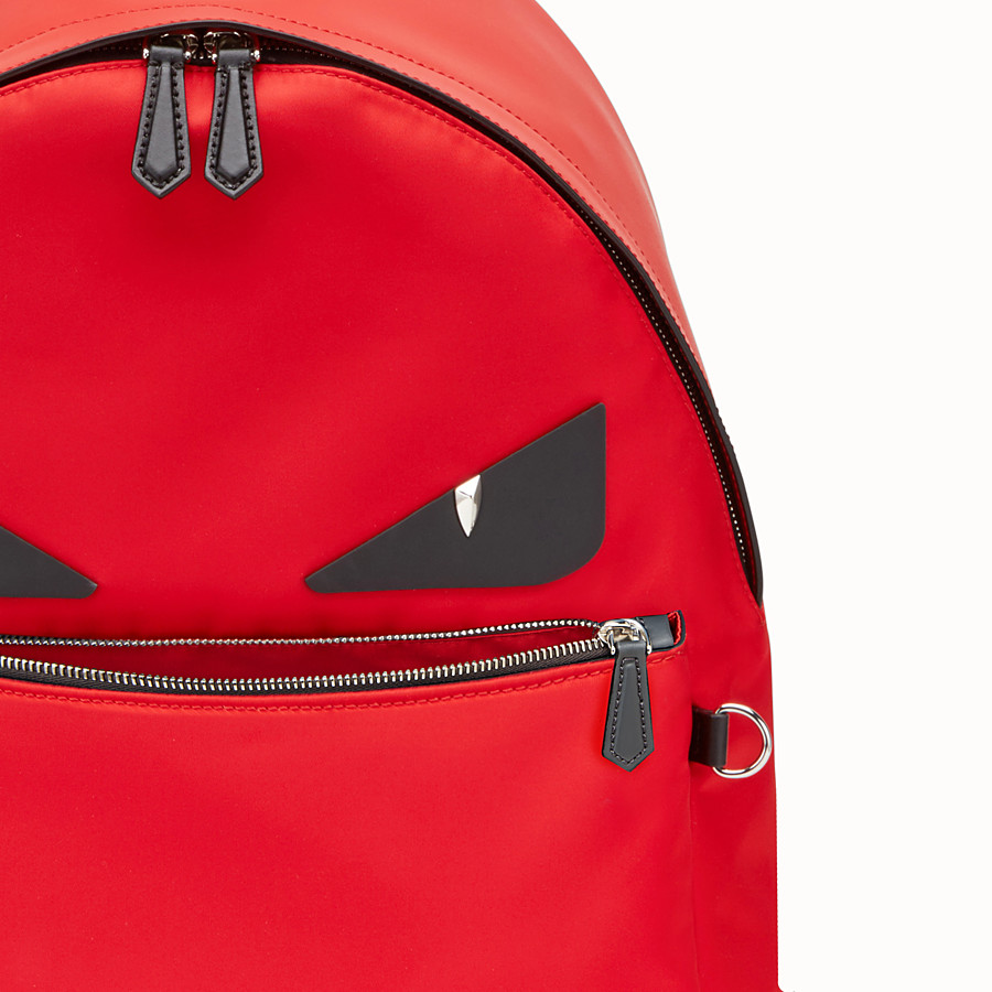 FENDI BACKPACK - Red fabric and leather backpack - view 4 detail