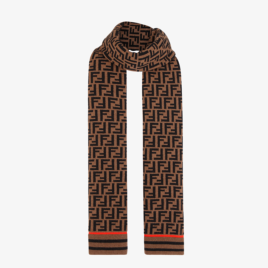 FENDI FF SCARF - Brown wool and cashmere scarf - view 2 detail