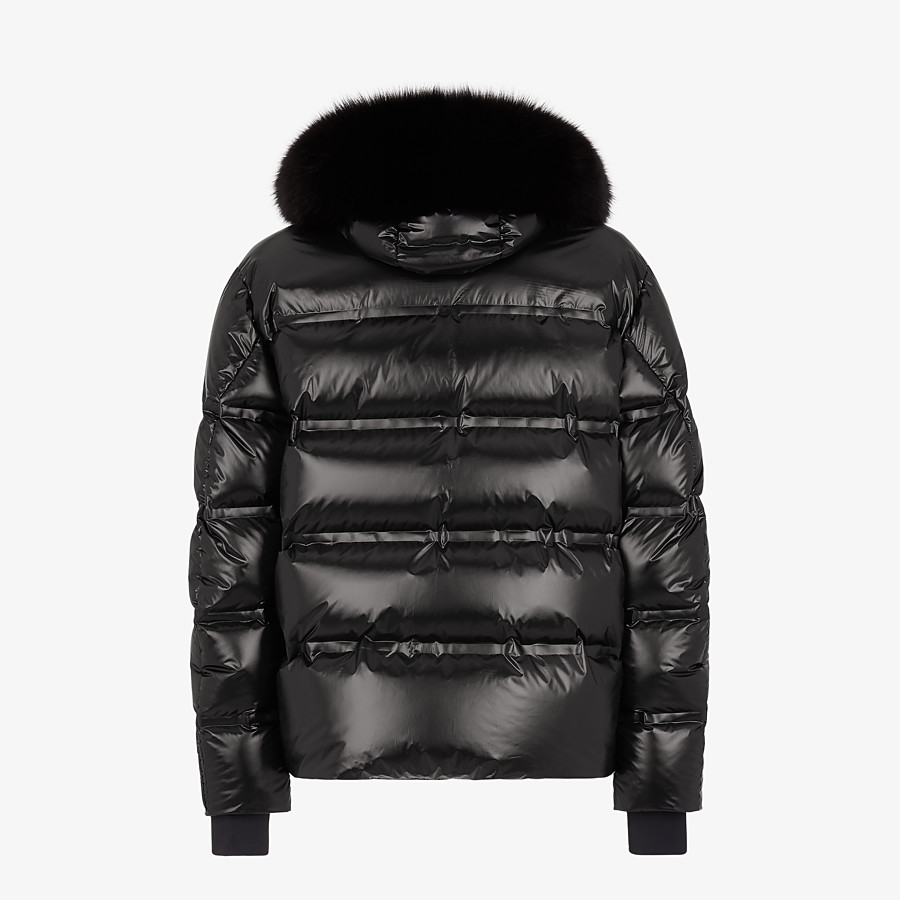 FENDI DOWN JACKET - Black nylon down jacket - view 2 detail