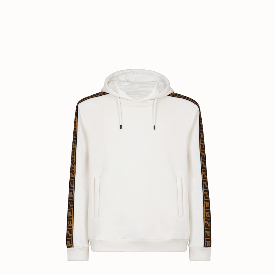 FENDI SWEATSHIRT - White cotton jersey sweatshirt. - view 1 detail