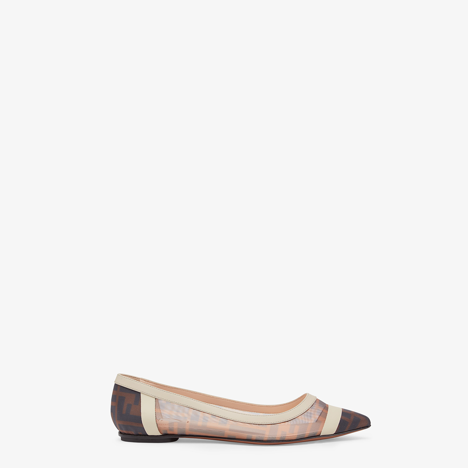 FENDI BALLERINAS - Flat in mesh and white leather - view 1 detail