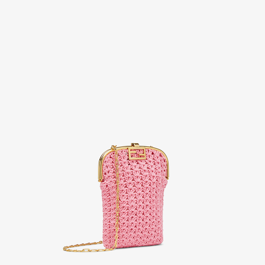 FENDI BAGUETTE PHONE BAG - Pink fabric mini-bag - view 2 detail