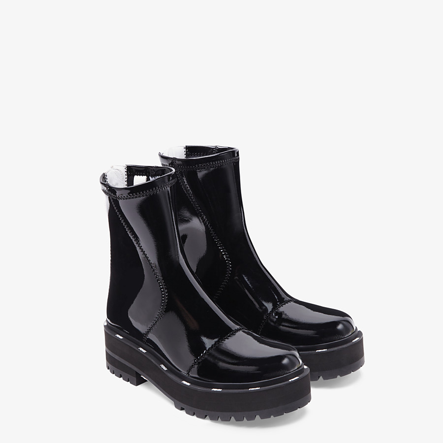FENDI ANKLE BOOTS - Glossy black neoprene biker boots - view 4 detail