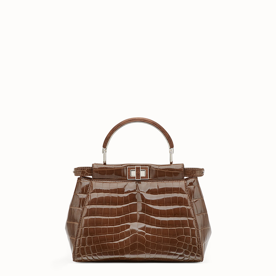 FENDI PEEKABOO MINI - Sac en crocodile marron - view 1 detail