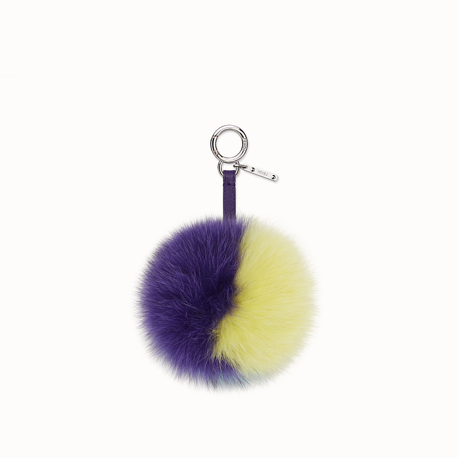 FENDI POMPOM CHARM - in purple, blue and yellow fox fur - view 2 detail