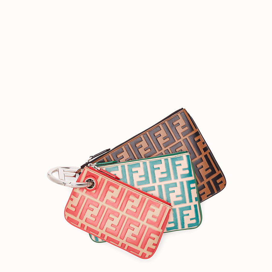FENDI TRIPLETTE - Multicolour leather clutch - view 1 detail