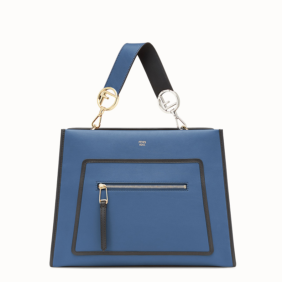 FENDI RUNAWAY REGULAR - Blue leather bag - view 1 detail