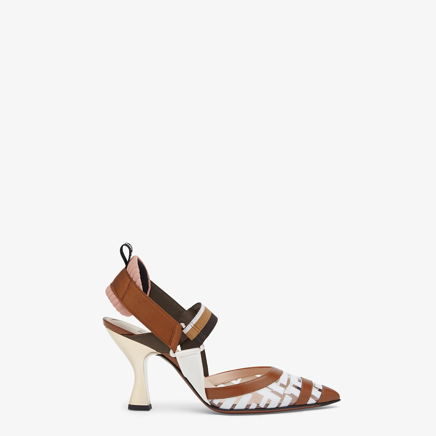 FENDI SLINGBACK - White leather and PU Colibrì - view 1 detail