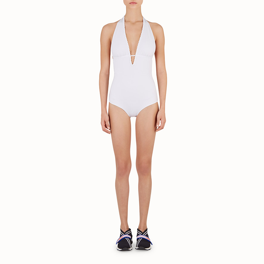FENDI ONE-PIECE SWIMSUIT - White tech fabric swimsuit - view 2 detail