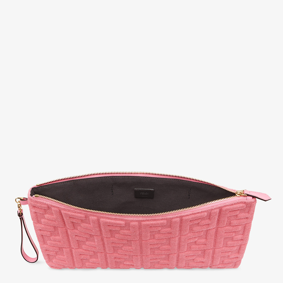 FENDI FLAT POUCH LARGE - Pink terrycloth pouch - view 3 detail