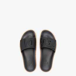 FENDI SLIDES - Black rubber slides - view 4 thumbnail