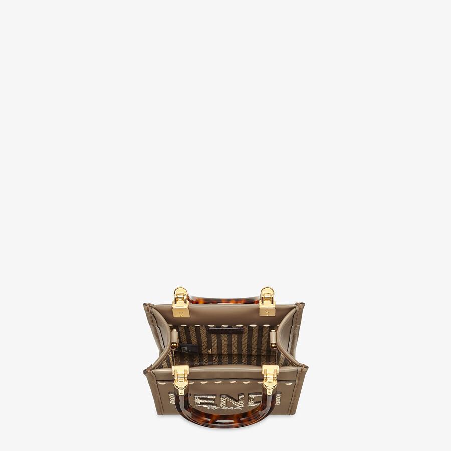 FENDI MINI SUNSHINE SHOPPER - Gray leather and elaphe mini-bag - view 5 detail