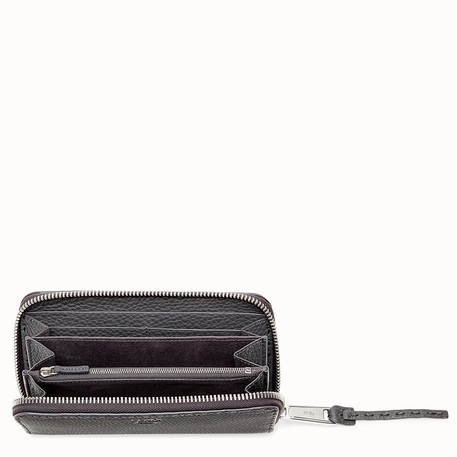 FENDI ZIP-AROUND - Grey leather wallet - view 3 detail