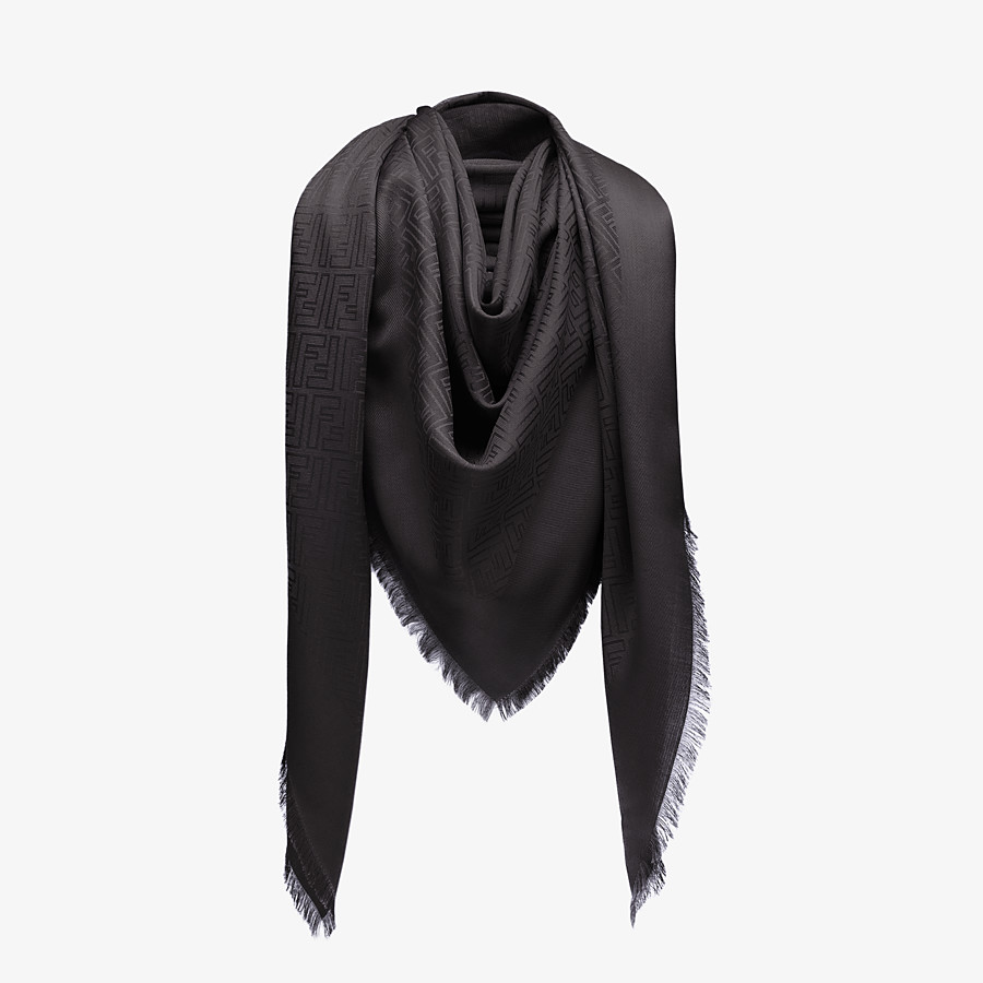 FENDI FF SHAWL - Black silk and jacquard wool shawl - view 2 detail