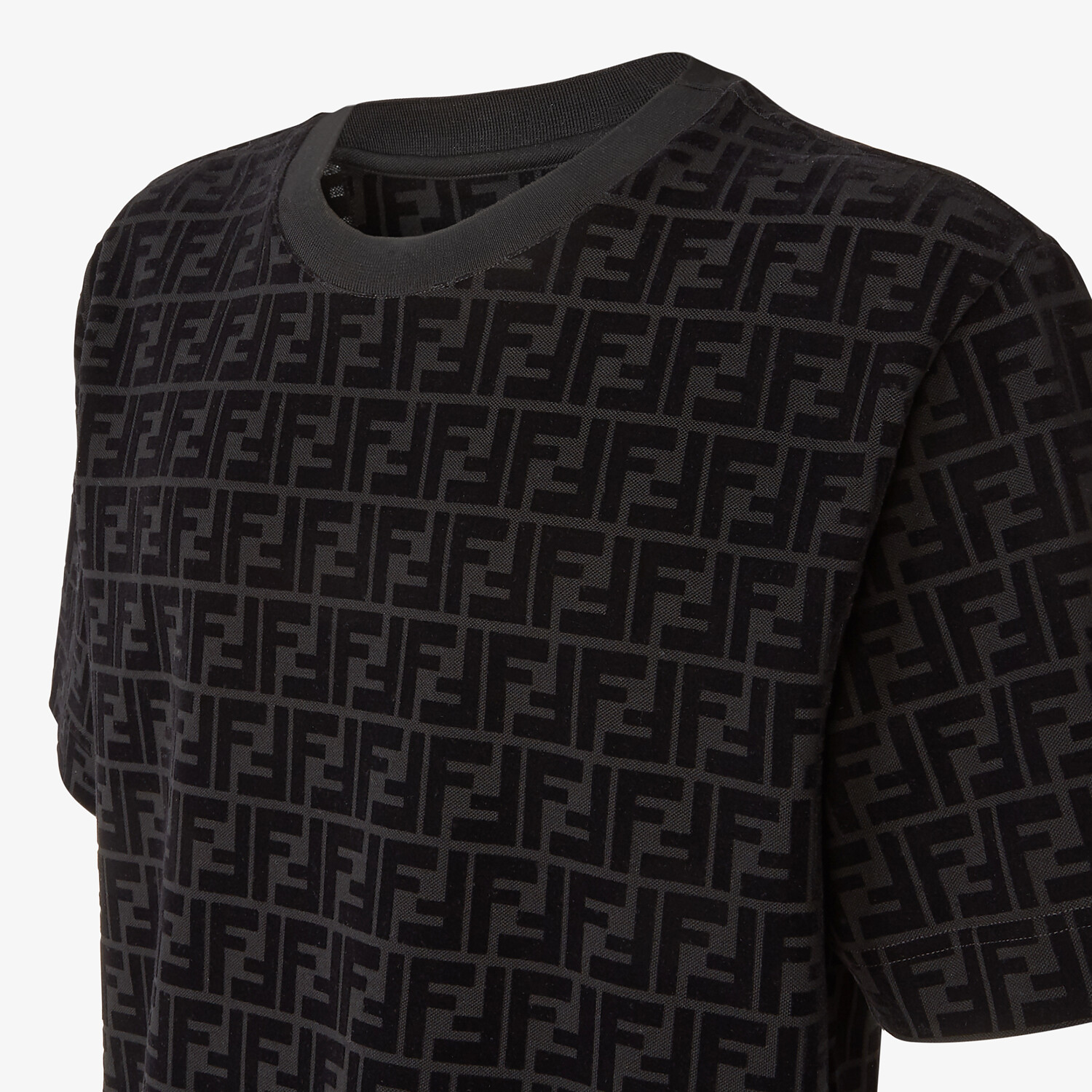 FENDI T-SHIRT - T-shirt in black piqué - view 3 detail