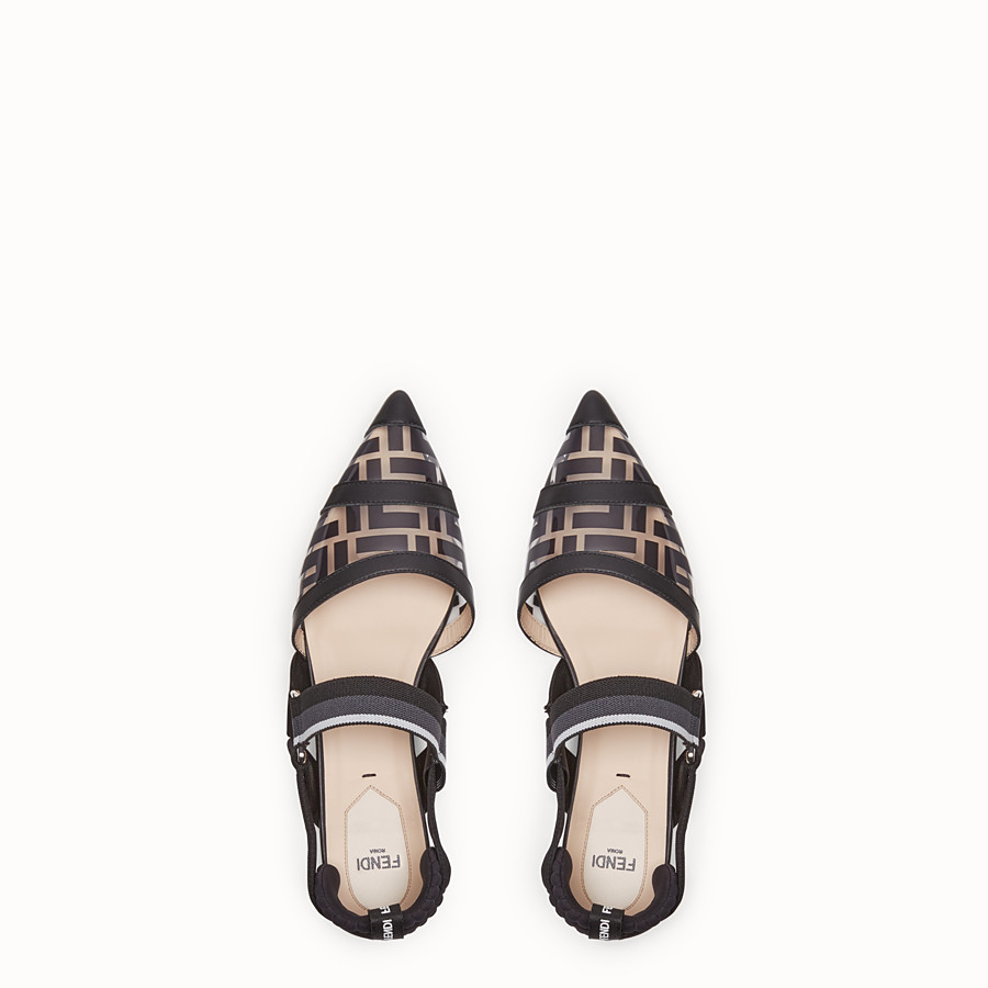 FENDI SANDALS - Flats in PU and black leather - view 4 detail