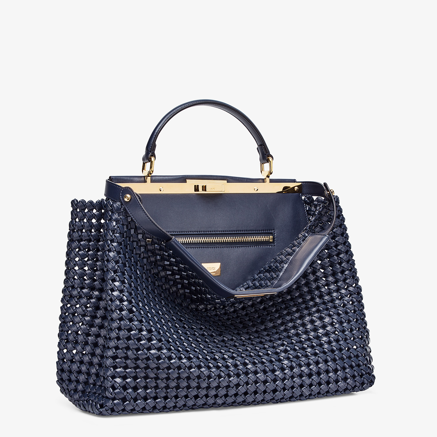 FENDI PEEKABOO ICONIC LARGE - Blue leather interlace bag - view 2 detail