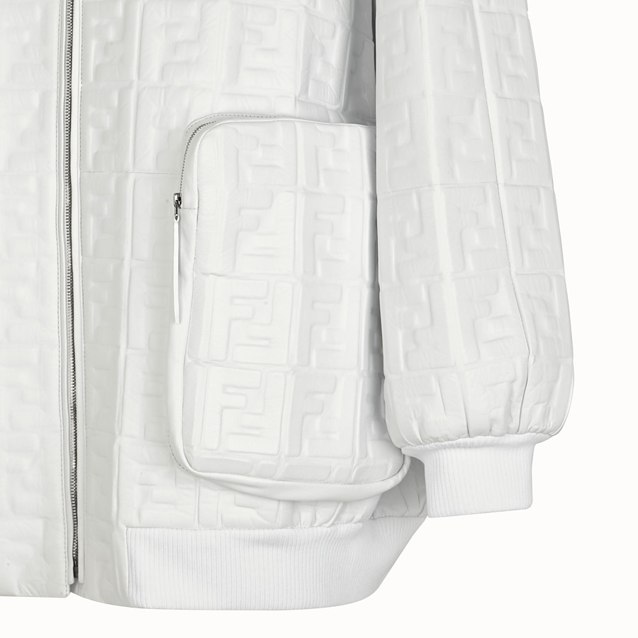 FENDI BOMBER - White nappa leather bomber - view 3 detail