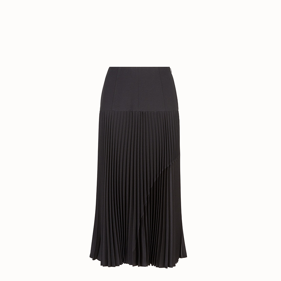 FENDI SKIRT - Black silk skirt - view 1 detail