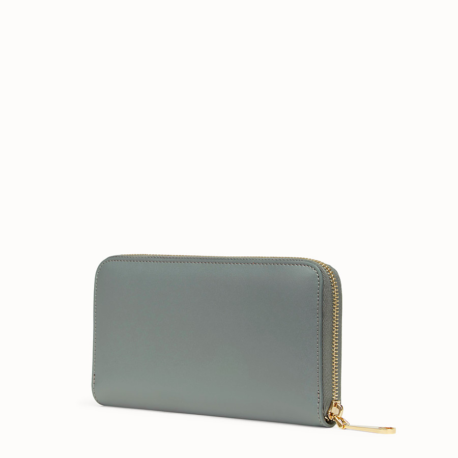 FENDI ZIP-AROUND - Green leather wallet - view 2 detail