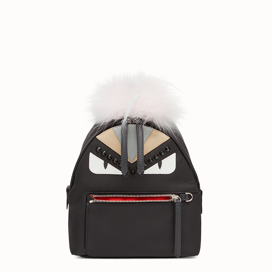 FENDI BACKPACK MINI - Small black fabric and leather backpack - view 1 detail