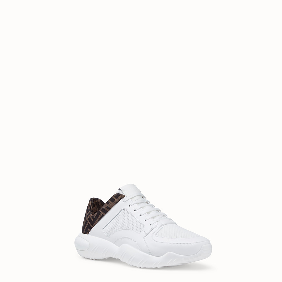 FENDI SNEAKERS - Low-tops in white tech mesh and leather - view 2 detail