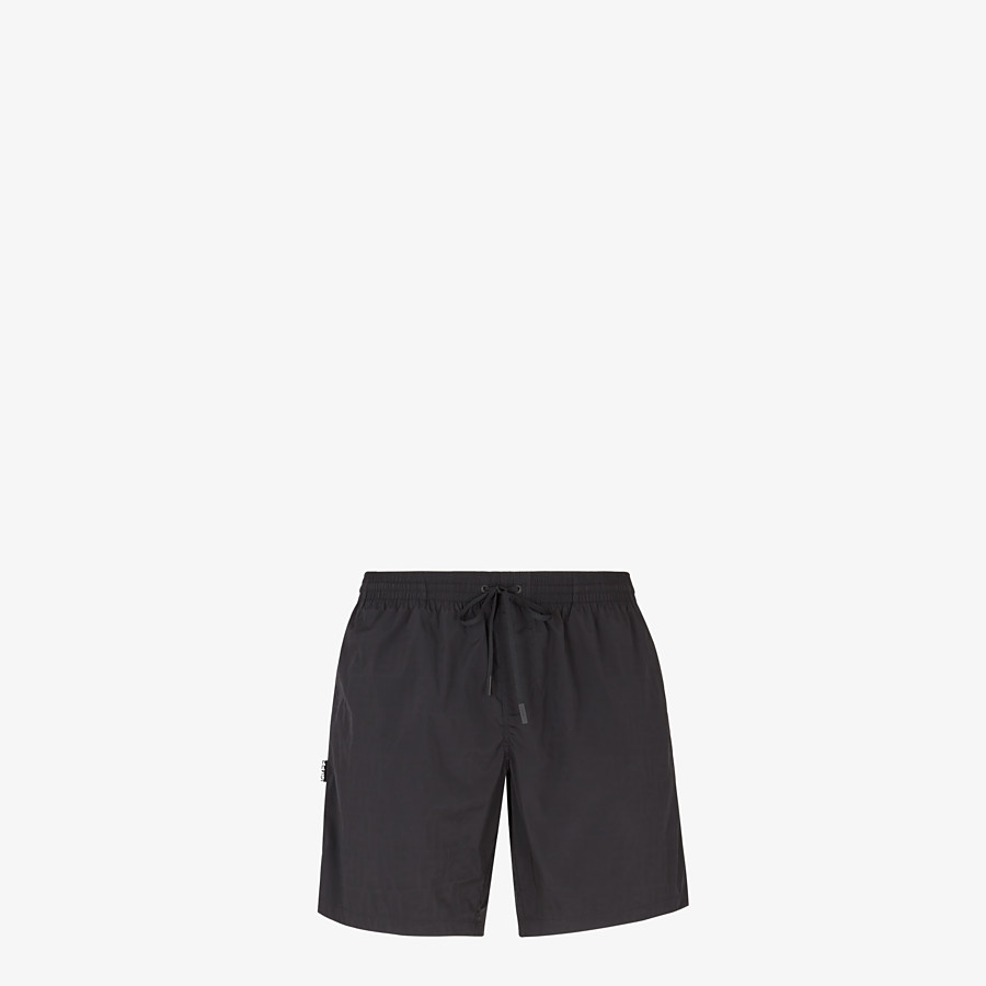 FENDI SWIM SHORTS - Black nylon swim shorts - view 1 detail