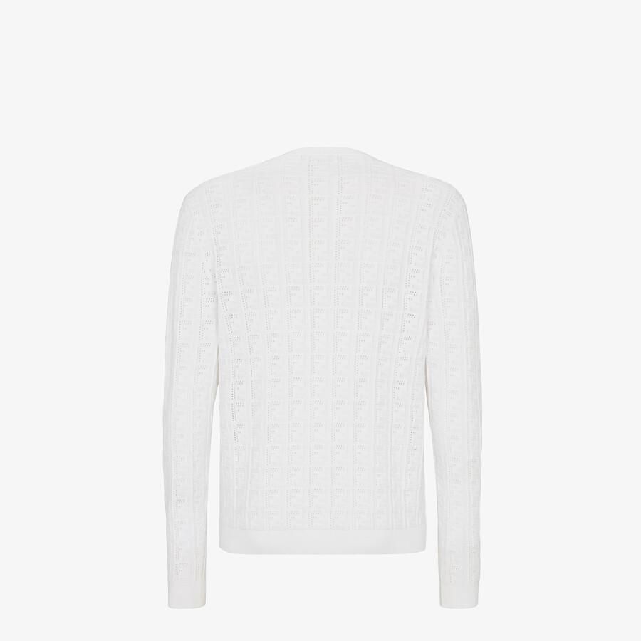 FENDI SWEATER - White cotton sweater - view 2 detail