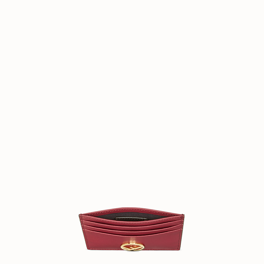 FENDI CARD HOLDER - Flat red leather card holder - view 4 detail
