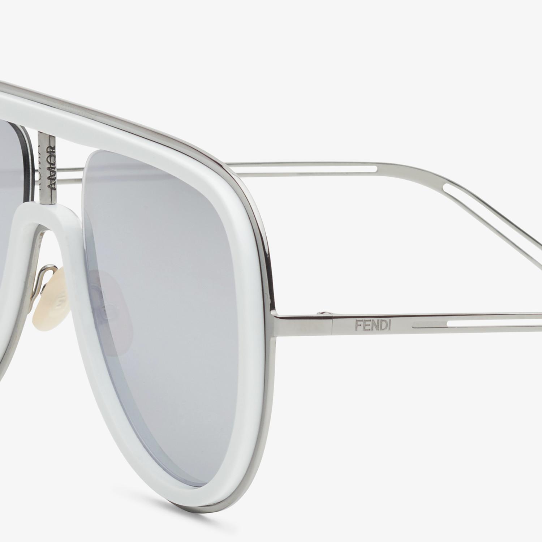 FENDI FUTURISTIC FENDI - White and ruthenium sunglasses - view 3 detail