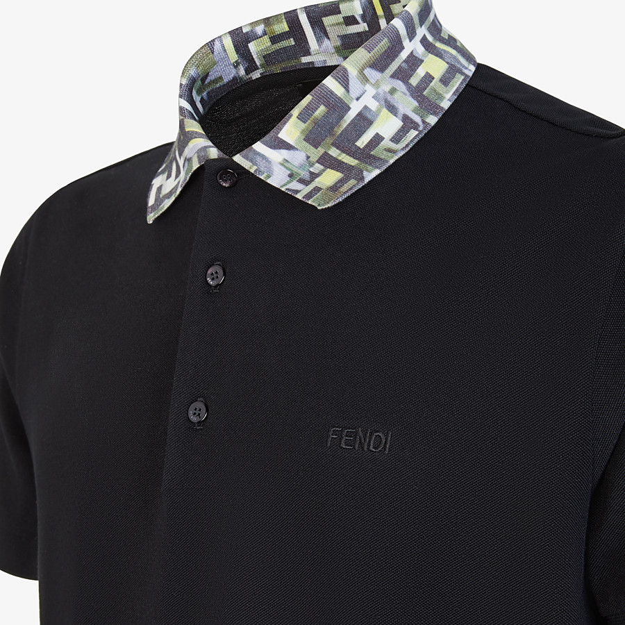 FENDI T-SHIRT - Black cotton polo shirt - view 3 detail