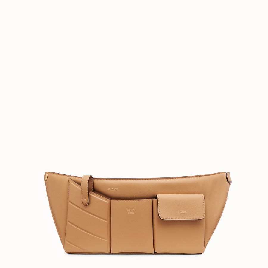 FENDI POCKETS BELT BAG - Brown leather belt bag - view 1 detail