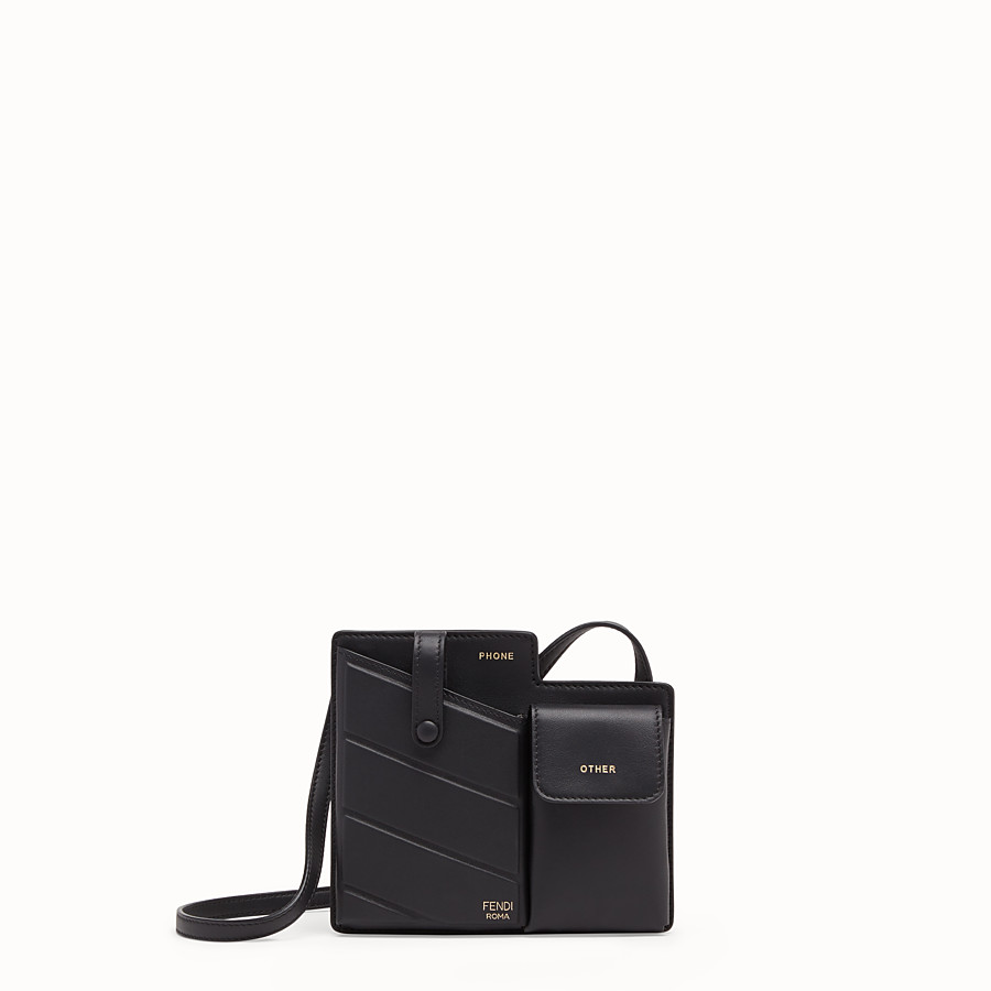 FENDI 2 POCKETS MINI BAG - Black leather messenger - view 1 detail