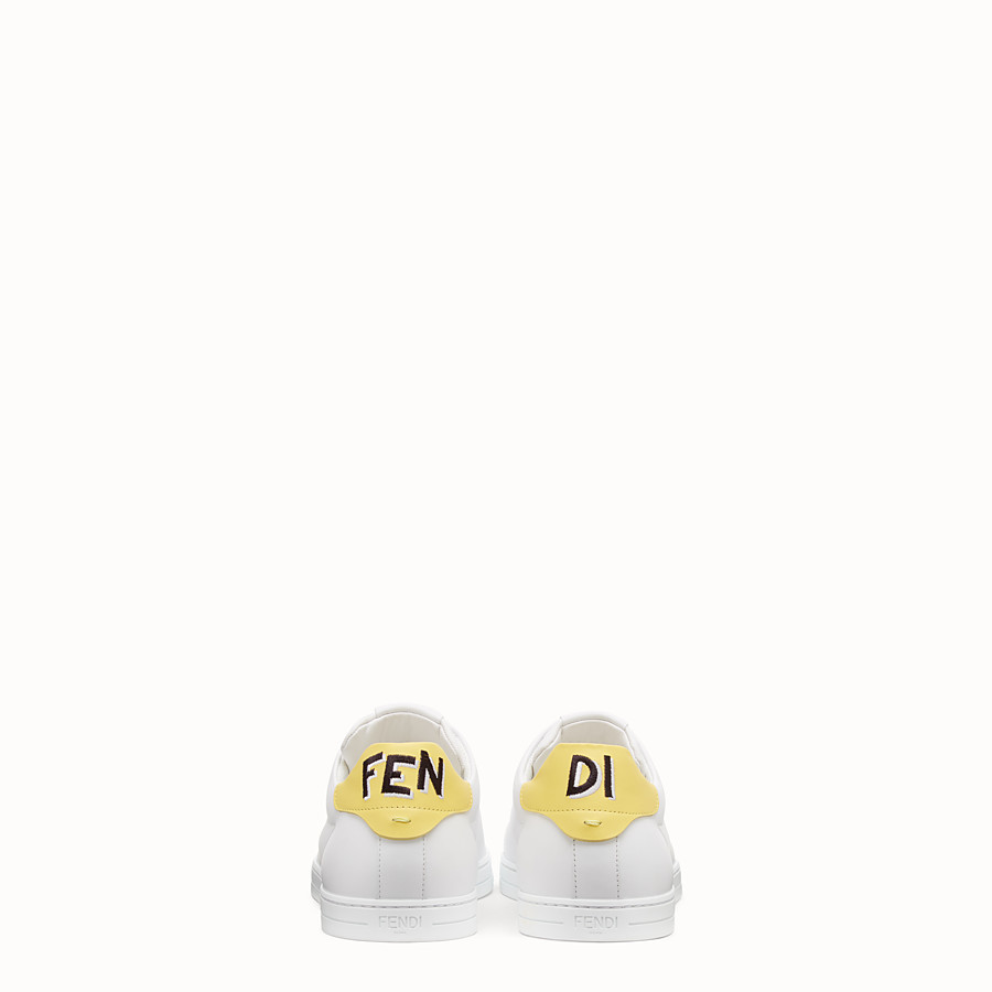 FENDI SNEAKERS - White leather low-tops - view 3 detail