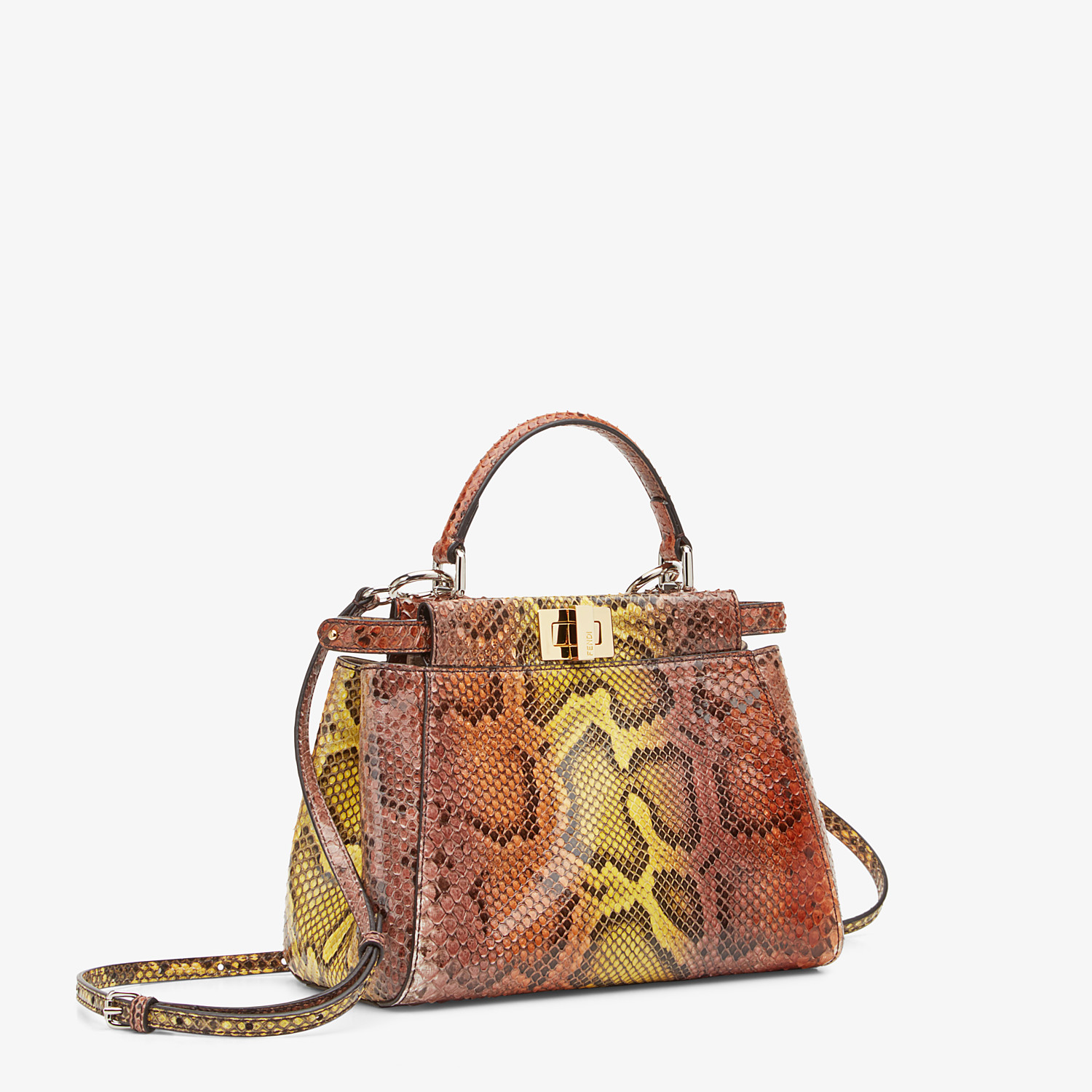 FENDI PEEKABOO ICONIC MINI - Borsa in pitone marrone - vista 2 dettaglio