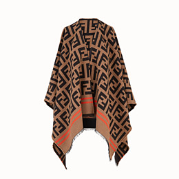 FENDI FF PONCHO - Multicolour wool and silk poncho - view 1 thumbnail