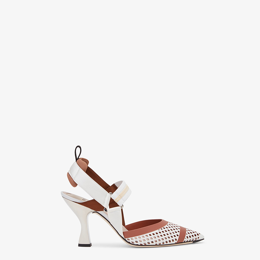 FENDI SLINGBACKS - Colibrì in white leather - view 1 detail