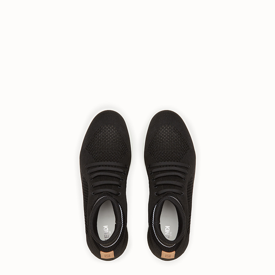FENDI SNEAKERS - Black knit slip-ons - view 4 detail