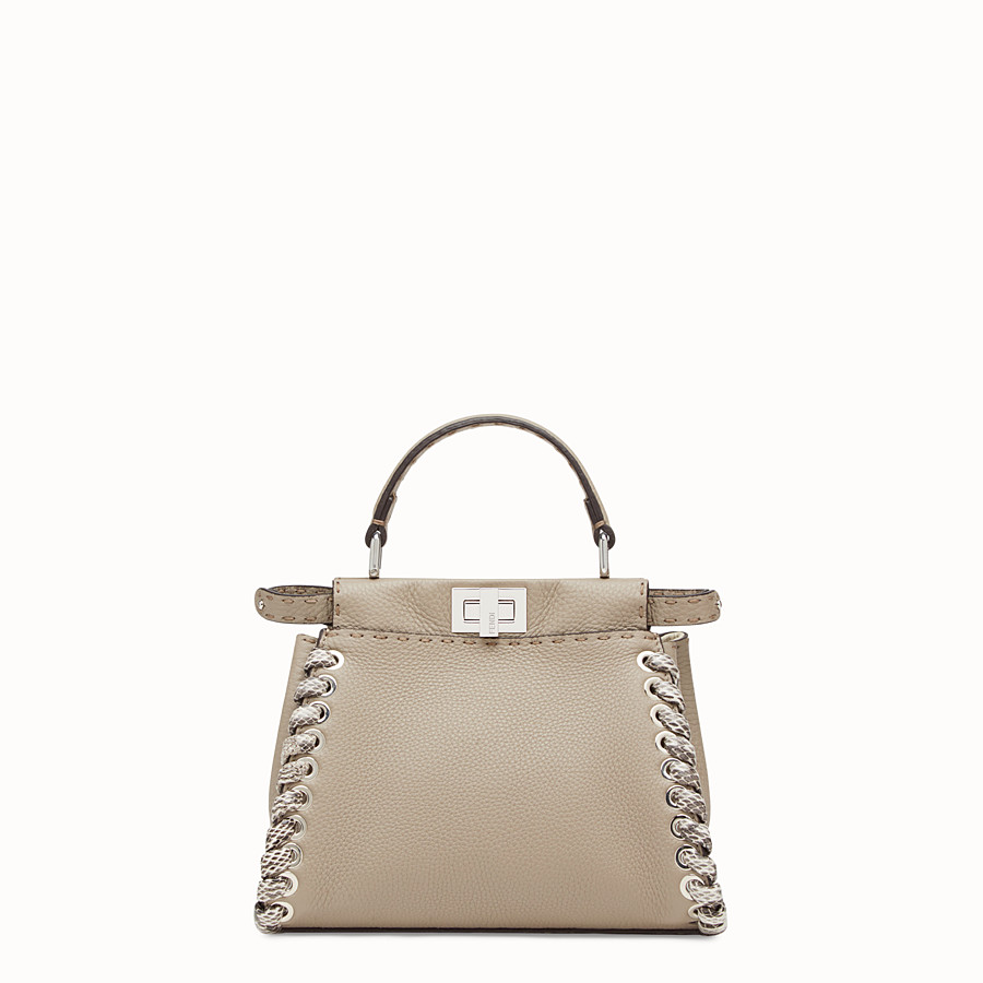 FENDI PEEKABOO MINI - Beige leather bag with exotic details - view 1 detail