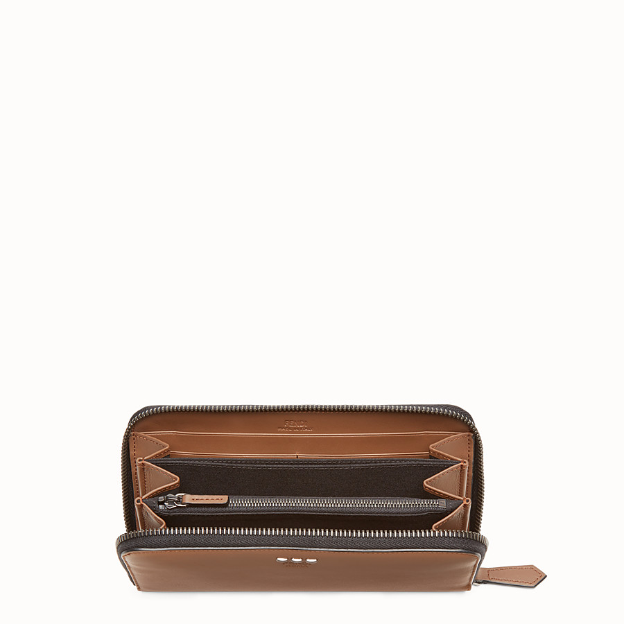 FENDI WALLET - Mocha-coloured leather zip-around wallet - view 3 detail
