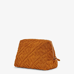FENDI MEDIUM BEAUTY POUCH - Brown terrycloth toiletry case - view 2 thumbnail