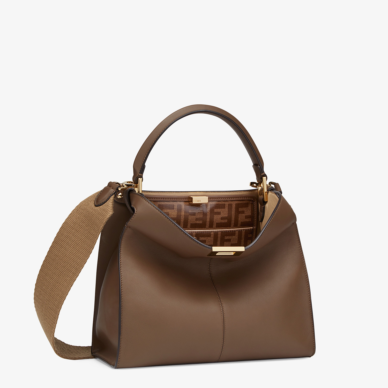 FENDI MEDIUM PEEKABOO X-LITE - Brown leather bag - view 3 detail
