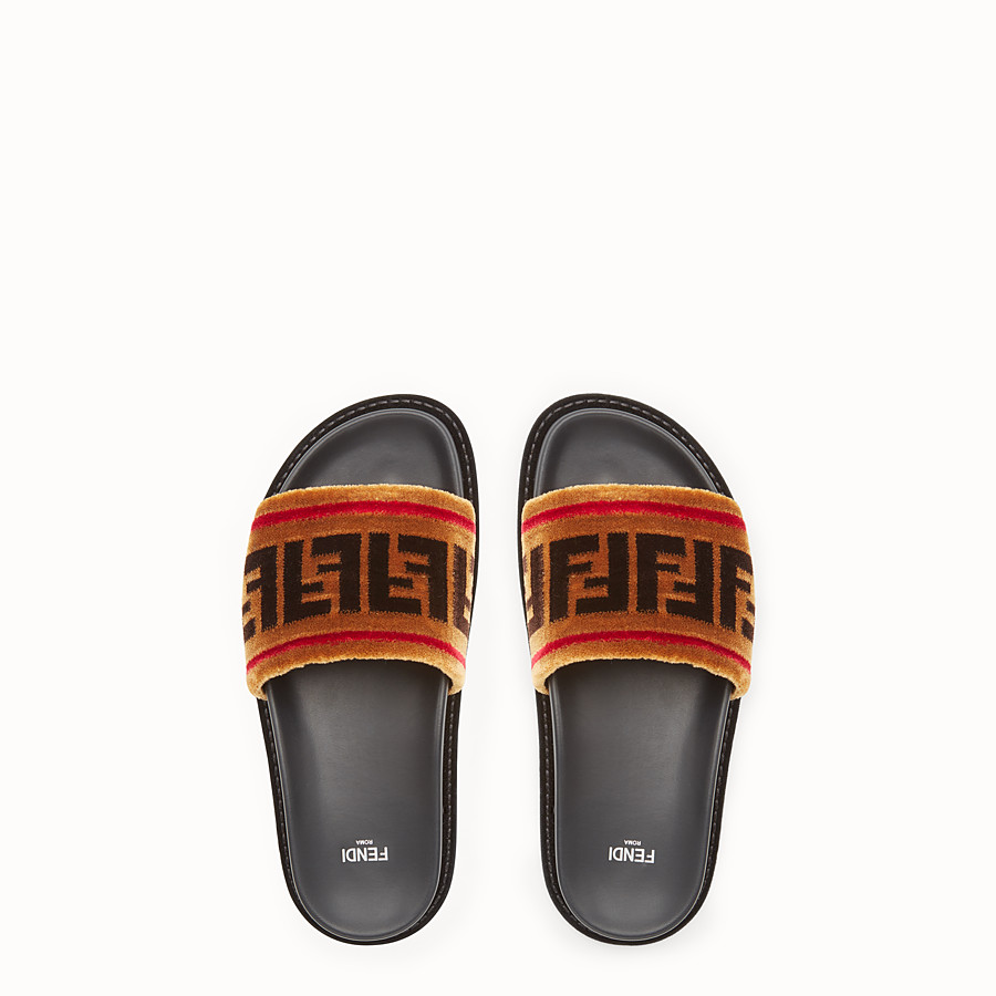 FENDI SLIDES - Multicolor fabric flats - view 4 detail