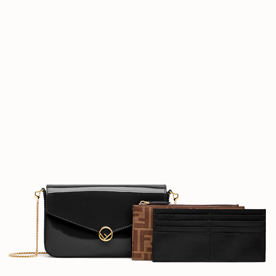 FENDI WALLET ON CHAIN WITH POUCHES - Mini bag in black patent - view 2 detail